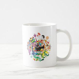 colorful hue circle gradation with black and white coffee mug