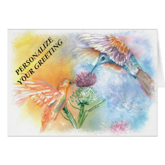 COLORFUL HUMMING BIRDS CUSTOMIZABLE GREETING CARD