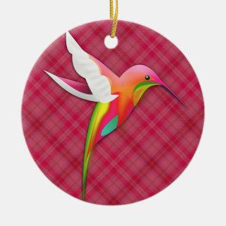 Colorful Hummingbird with Vivid Pink Plaid Round Ceramic Ornament
