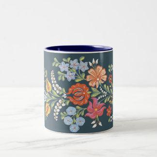 colorful Hungarian flowers Two-Tone Coffee Mug