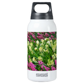 Colorful hyacinth flower garden insulated water bottle