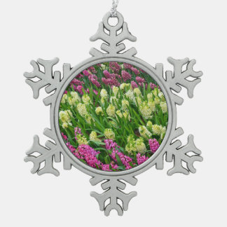 Colorful hyacinth flowers christmas ornament