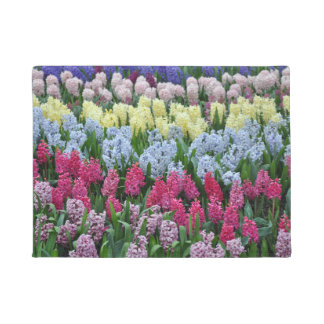 Colorful hyacinth flowers doormat