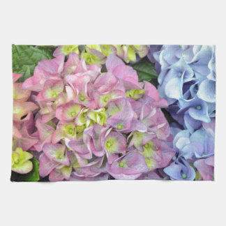 Colorful hydrangea flowers kitchen towel