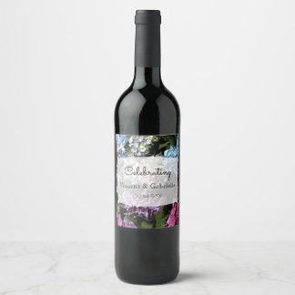 Colorful Hydrangea Flowers Wedding Wine Label