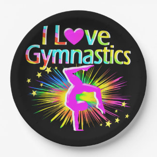 COLORFUL I LOVE GYMNASTICS PAPER PLATES