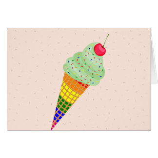 Colorful Ice Cream Cone Design Card