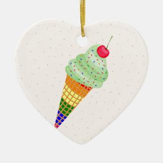 Colorful Ice Cream Cone Design Ceramic Heart Ornament