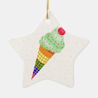 Colorful Ice Cream Cone Design Ceramic Star Ornament