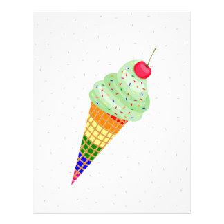 Colorful Ice Cream Cone Design Custom Letterhead