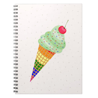 Colorful Ice Cream Cone Design Notebooks
