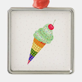 Colorful Ice Cream Cone Design Silver-Colored Square Ornament