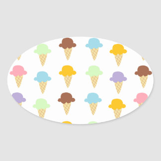 Colorful Ice Cream Cones Oval Sticker