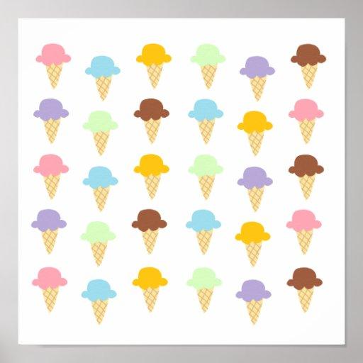 Colorful Ice Cream Cones Print