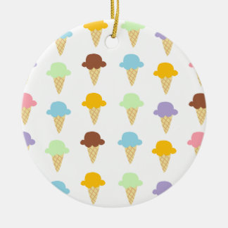 Colorful Ice Cream Cones Round Ceramic Ornament