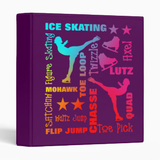 Colorful Ice Skating Theme Terminology Typography Binder
