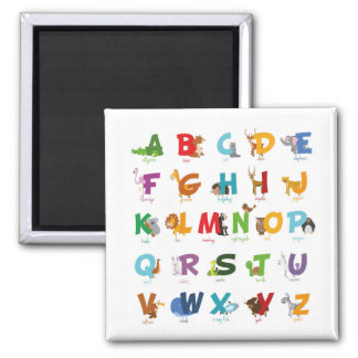 Colorful illustrated Animal Alphabet Letters Magnet