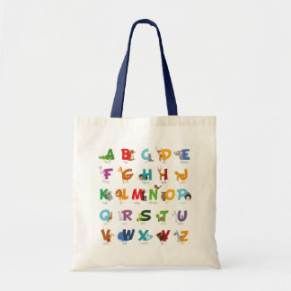 Colorful illustrated Animal Alphabet Letters Tote Bag
