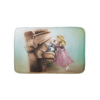 Colorful illustrated bath mat - Piano Girl