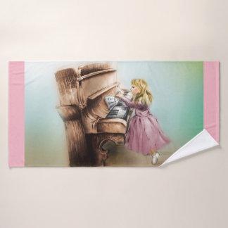 Colorful illustrated bath towl  - Piano Girl Bath Towel