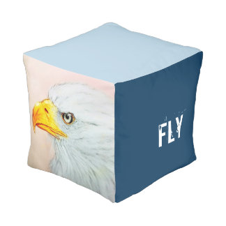 Colorful illustrated cubed pouf - Eagle