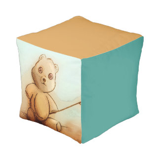 Colorful illustrated cubed pouf - Teddy