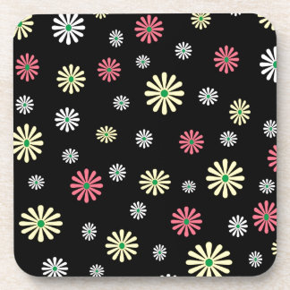 Colorful illustrated daisy floral pattern drink coasters