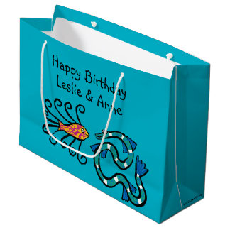 Colorful Illustrated Fish Friends Large Gift Bag