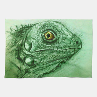 Colorful illustrated kitchen towel - Iguana
