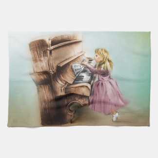 Colorful illustrated kitchen Towel - Piano Girl