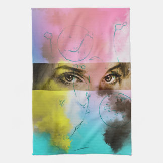 Colorful illustrated kitchen towel - Stare