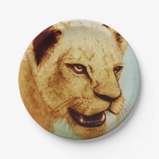 Colorful illustrated paper plate - Lion