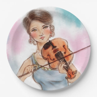 Colorful illustrated paper plate - Violin