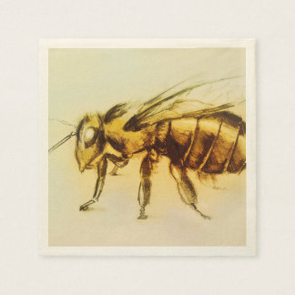 Colorful illustrated set of napkins - Bee Disposable Napkins