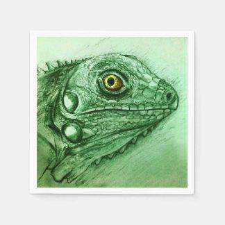 Colorful illustrated set of napkins - Iguana