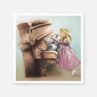 Colorful illustrated set of napkins - Piano Girl