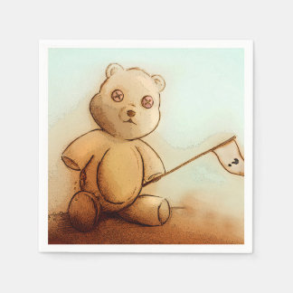 Colorful illustrated set of napkins - Teddy Disposable Napkins
