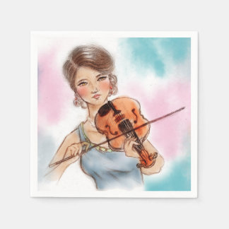 Colorful illustrated set of napkins - Violin