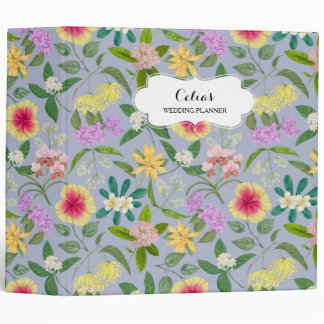Colorful Illustrated Tropical Flowers Pattern 3 Ring Binder
