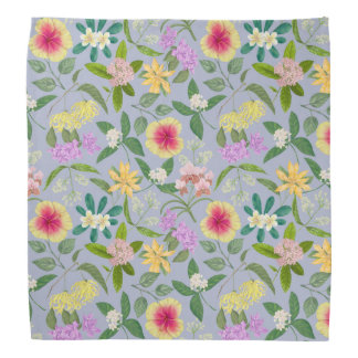 Colorful Illustrated Tropical Flowers Pattern Bandana