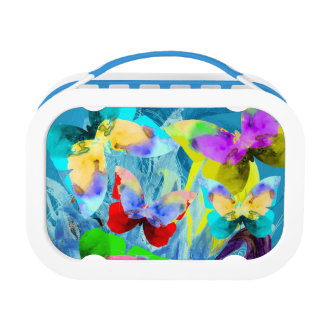 Colorful illustration of butterflies on blue plant lunch box