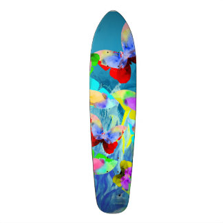 Colorful illustration of butterflies on blue plant skate board