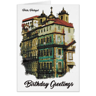 Colorful image of Porto, Portugal Birthday Card