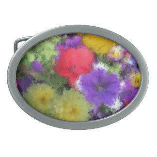 COLORFUL IMPRESSIONISTIC FLORAL WATERCOLOR OVAL BELT BUCKLES
