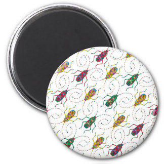 Colorful Insects Original Pattern 2 Inch Round Magnet