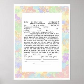 Colorful Interfaith Text Ketubah Poster