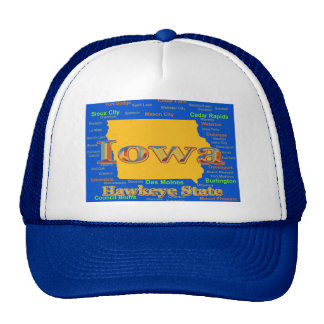 Colorful Iowa State Pride Map Silhouette Trucker Hats