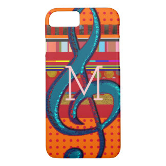 colorful iPhone 7 with stripes and musical-note iPhone 8/7 Case