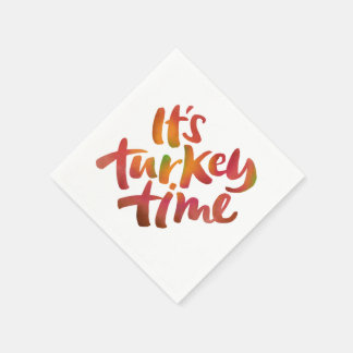 Colorful - Its Turkey Time Thanksgiving Dinner Paper Napkin