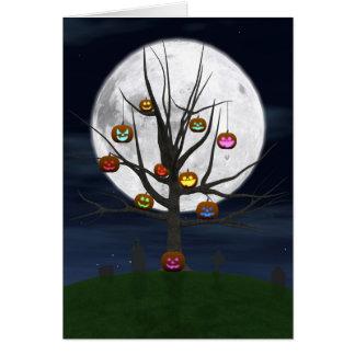 Colorful Jack-o-lantern Tree Greeting Card